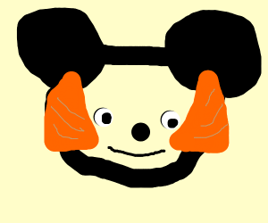 Micky Mouse with Mutton Chops hides from emoj