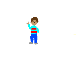 A boy in a red and blue shirt waving at you