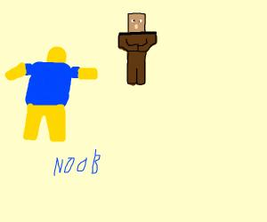 roblox noob meets minecraft villager