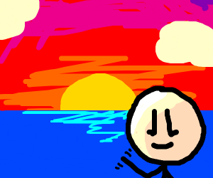 A guy waving in the sunset