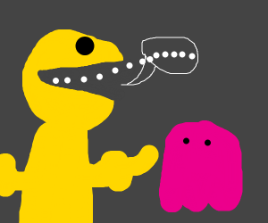 Pacman has a human body and talks to red ghos