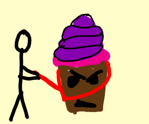 Angry purple cupcake on lead