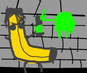 Emo Banana with a paint can