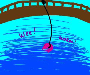 Shrimp happily swings on rope from bridge.