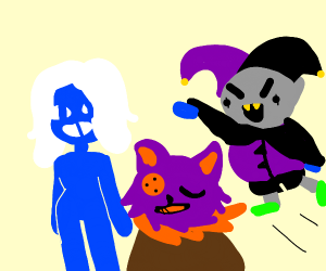 Roulx, Jevil and Seam from Deltarune