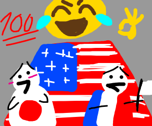 USA, France, and Japan with emoticon faces