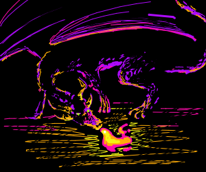 An Awsome Dragon Stands in the Dark