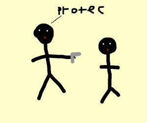 Protecting a boy with a gun