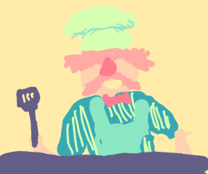Cheerful chef hold spatula in hand