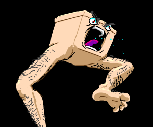 Angry box man with hairy human legs