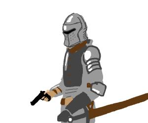 Knight holding a gun.