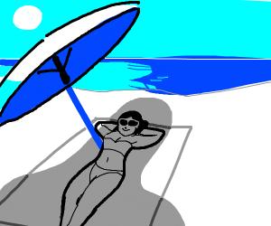 girl on beach (with phallic umbrella shadow)