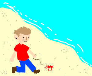 man taking his pet crab for a walk