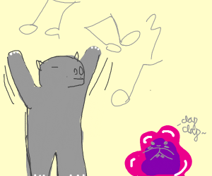 Dancing hippo impresses pink blob
