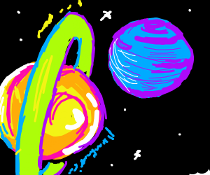 A neon planet orbiting blue planet