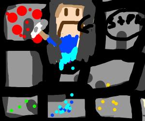 Minecraft Steve is sad while mining redstone