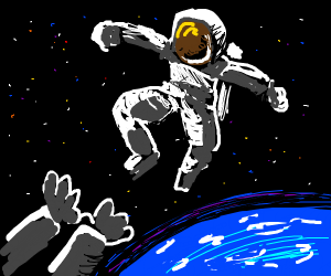 Astronaut pushed into space