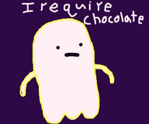 Ghost needs chocolate bar