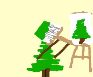 happy little tree paints a happy little tree