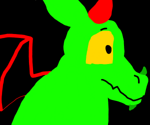 A green dragon with red wings & horns.