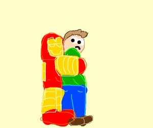 Iron Man hugging someone