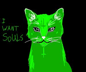 Green cat wants souls