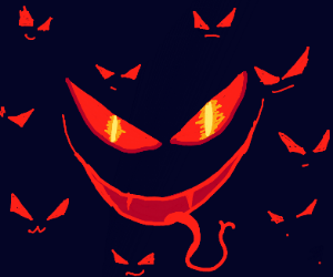 A bunch of scary bat faces in the dark