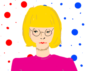 thin lipped white woman with glasses