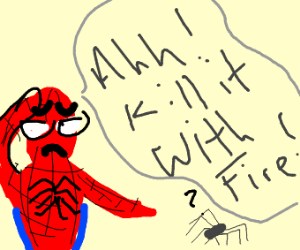 Spiderman scared of actual spider