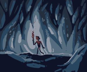 boy exploring a cave