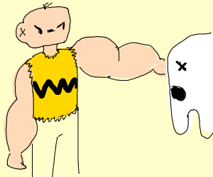 Jacked Charlie Brown punches ghost