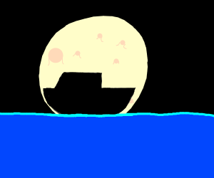 Boat Silhouetted by the moon