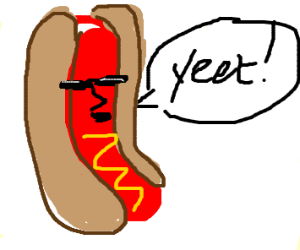 weirdly colored hotdog with mustard yah yeet
