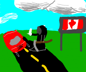 Grim reaper hitchhikes to Canada