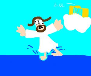 jesus failing at walking on water