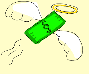 paper money with angel wings