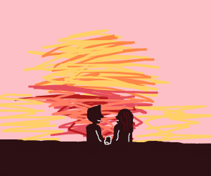 couple sharing burrito during the sunset