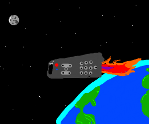 Tv remote blasting off into space