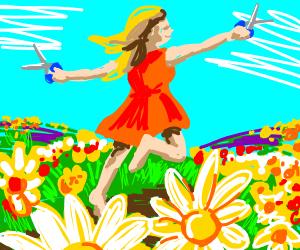 Frolicking with scissor on a flower field