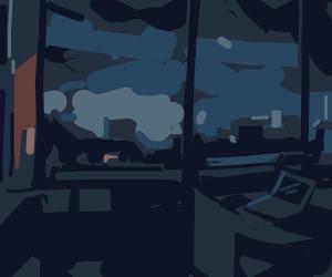evening through a window