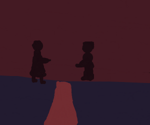 Two silhouettes in a field at night time