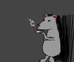 Rat smokes a cigarette
