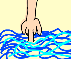 A finger sinking into the ocean