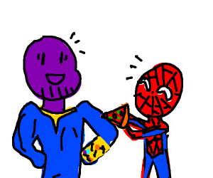 Spiderman gives thanos pizza