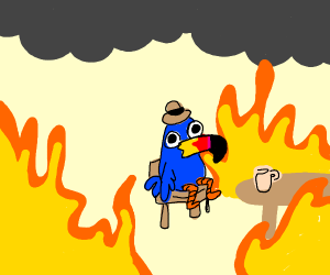 """This is fine"" meme, but with toucan"