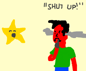 Angry man yelling at a singing star to shh