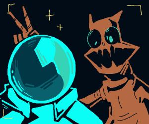 Astronaut makes friends with horrific alien
