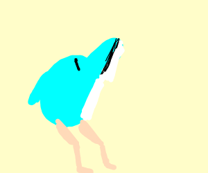 Guy and dolfin or whale