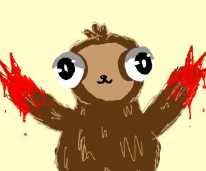 Sloth with big eyes and red hands