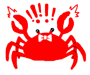 Crab with a bowtie is alarmed